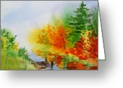Red Leaves Painting Greeting Cards - Autumn Burst Of Fall Impressionism Greeting Card by Irina Sztukowski