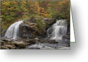 Brooks Greeting Cards - Autumn Cascades Greeting Card by Debra and Dave Vanderlaan