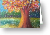 Autumn Landscape Pastels Greeting Cards - Autumn Color Greeting Card by Deb Stroh Larson