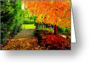 Flowers Glass Art Greeting Cards - Autumn colors Greeting Card by Adam Shevron