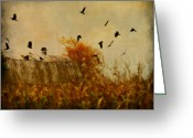 Barn Art Digital Art Greeting Cards - Autumn Cornfield Greeting Card by Gothicolors With Crows