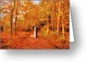Artistic Painting Greeting Cards - Autumn Dance Greeting Card by Jai Johnson