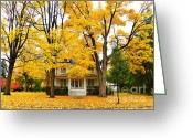 Yellow Trees Greeting Cards - Autumn Day Greeting Card by Julie Palencia