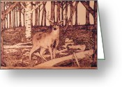 Wood Pyrography Greeting Cards - Autumn Deer Greeting Card by Andrew Siecienski