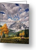Horns Painting Greeting Cards - Autumn Echos Greeting Card by Jerry LoFaro