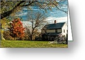 Changing Colors Greeting Cards - Autumn Farm House Greeting Card by Lara Ellis