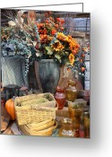 Wicker Baskets Greeting Cards - Autumn Flowers and Baskets Greeting Card by Patrice Zinck