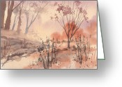 Wet In Wet Watercolor Greeting Cards - Autumn Fog Greeting Card by Linda Eades Blackburn