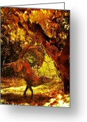 Daydream Mixed Media Greeting Cards - Autumn Follies Greeting Card by Leah Moore