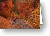 Old Bike Greeting Cards - Autumn Gathering Greeting Card by Leland Howard