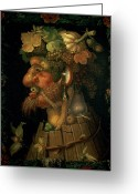 Zodiac Greeting Cards - Autumn Greeting Card by Giuseppe Arcimboldo