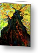Backlit Painting Greeting Cards - Autumn Glow Greeting Card by Allison Coelho Picone