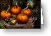 Autumn Scenes Greeting Cards - Autumn - Gourd - Pumpkins and some other things  Greeting Card by Mike Savad