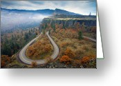 Gorge Greeting Cards - Autumn Hairpin Turn Greeting Card by Mike  Dawson