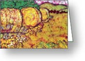 Batiks. Wheat Greeting Cards - Autumn Harvest Batik Greeting Card by Kristine Allphin