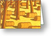 Setting Pastels Greeting Cards - Autumn Haybales Greeting Card by John  Turner