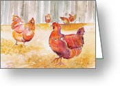 Purples Tapestries - Textiles Greeting Cards - Autumn Hens Greeting Card by Carolyn Doe
