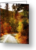 Rock Formation Greeting Cards - Autumn Highway Greeting Card by Leah Moore