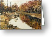 Indiana Autumn Greeting Cards - Autumn in Indianapolis Greeting Card by Addie May Hirschten