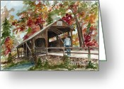 Split Rail Fence Greeting Cards - Autumn in Knoebels Grove  Greeting Card by Nancy Patterson