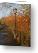 Jogging Greeting Cards - Autumn in New York City Greeting Card by Wendy Uvino