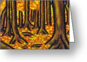Red Leaves Painting Greeting Cards - Autumn in Oakville Greeting Card by Kamil Swiatek