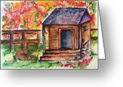 Split Rail Fence Painting Greeting Cards - Autumn in the Backwoods Greeting Card by Elaine Duras