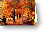 Autumn Roads Greeting Cards - Autumn in Vermont Greeting Card by David Lloyd Glover