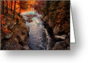 Waterfall Greeting Cards - Autumn In West Paris Greeting Card by Bob Orsillo