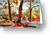 Fall Colors Greeting Cards - Autumn Jon Boats I Greeting Card by Kip DeVore