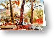 Fall Colors Greeting Cards - Autumn Jon Boats II Greeting Card by Kip DeVore