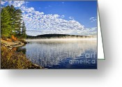 Misty Greeting Cards - Autumn lake shore with fog Greeting Card by Elena Elisseeva