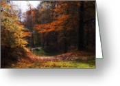 Landscape Posters Digital Art Greeting Cards - Autumn Landscape Greeting Card by Artecco Fine Art Photography - Photograph by Nadja Drieling