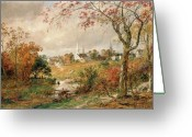 Hudson River School Greeting Cards - Autumn Landscape Greeting Card by Jasper Francis Cropsey