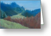 Grass Pastels Greeting Cards - Autumn Landscape of the Mind Greeting Card by Jenny Armitage