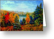 Autumn Roads Greeting Cards - Autumn Landscape Quebec Red Maples And Blue Spruce Trees Greeting Card by Carole Spandau