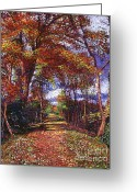Most Greeting Cards - Autumn Leave Road Greeting Card by David Lloyd Glover