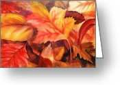 Thanksgiving Art Greeting Cards - Autumn Leaves Greeting Card by Irina Sztukowski
