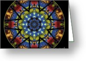 Janeen Wassink Searles Greeting Cards - Autumn Leaves Reflection Mandala Greeting Card by Janeen Wassink Searles