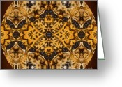 Daughter Gift Greeting Cards - Autumn Mandala Greeting Card by Zeana Romanovna