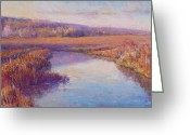 River Pastels Greeting Cards - Autumn Marshland Greeting Card by Michael Camp