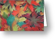 Autumn Leaves Pastels Greeting Cards - Autumn Greeting Card by Melissa Rhodes