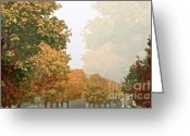Brown Leaves Greeting Cards - Autumn Mist Greeting Card by Gwyn Newcombe