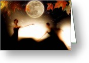 Maple Leaves Greeting Cards - Autumn moon dance Greeting Card by Gun Legler