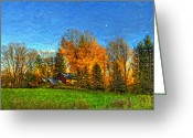 Canada Digital Art Greeting Cards - Autumn Moon Rising Greeting Card by Steve Harrington