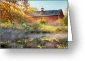 Red Barns Greeting Cards - Autumn Morn Greeting Card by Bill  Wakeley