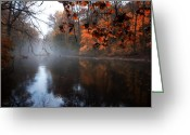 Fairmount Park Greeting Cards - Autumn Morning by Wissahickon Creek Greeting Card by Bill Cannon