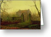 The Haunted House Greeting Cards - Autumn Morning Greeting Card by John Atkinson Grimshaw