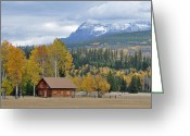 Glacier Greeting Cards - Autumn Mountain Cabin in Glacier Park Greeting Card by Bruce Gourley