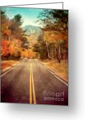 Yellow Line Greeting Cards - Autumn Mountain Road Greeting Card by Jill Battaglia